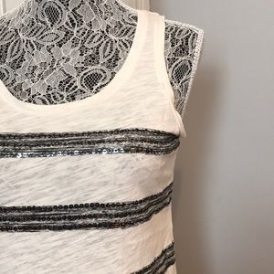 NWOT {LOFT} sequin striped top